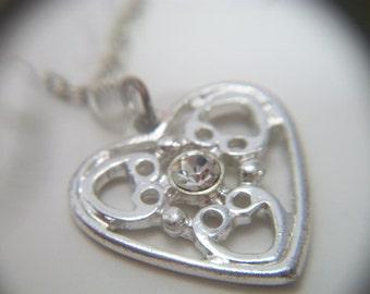 Silver Rhinestone Heart Pendant Necklace