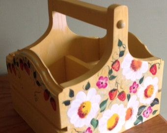 Napkin and Silverware Caddy  Handcrafted  Handpainted