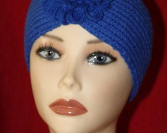 """Earwarmer Headband Winter Wear Blue Handmade Knitted Earwarmer Turban Style Flower Fits Head Size Up To 21"""""""