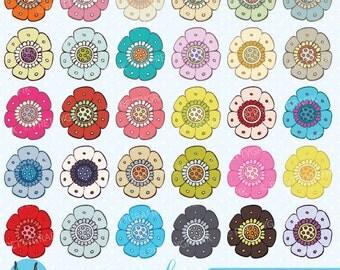 30 flower clipart commercial use, vector graphics, digital clip art, digital images - CL503