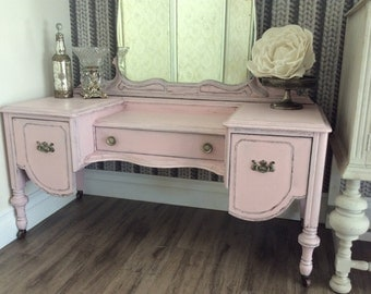 SOLD  - - Glamorous antique French Provincial pink vanity desk