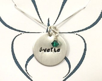"Personalized Sterling Silver necklace, 3/4"" disc- great gift for her"