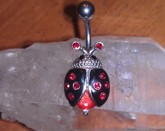Beautiful Handmade Stainless Steel Lady Bug Belly Ring 14 Gauge