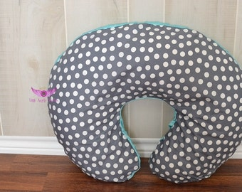 Grey Polka Dot and Turquoise/ Aqua Minky Boppy Cover