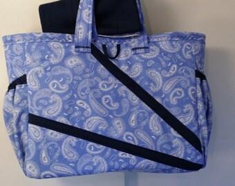 Blue paisley geometric print Diaper bag