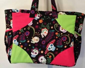 Skulls and colors diaper bag