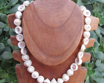 Sea Shell Necklace Organic Boho Wood Beads