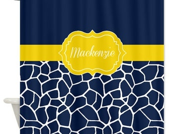 Custom Giraffe Animal Print Shower Curtain W  Name Yellow Navy Blue White Polka Dot w Two Names Personalized Shared