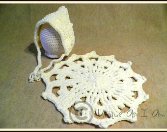 Crocheted Newborn Snowflake Doily Cape and Pixie Bonnet