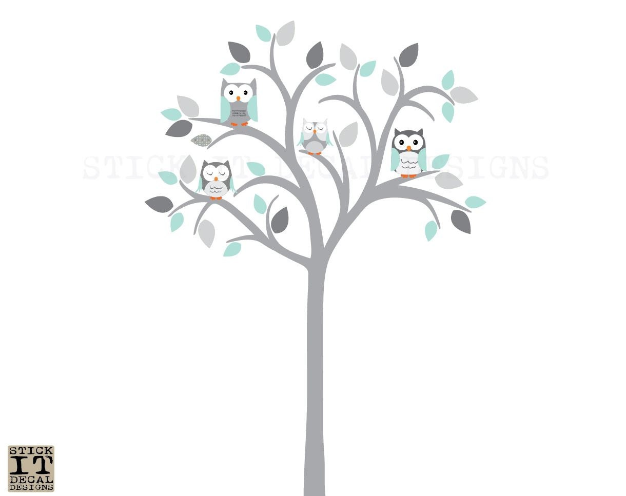 Owl tree wall decal owl tree wall sticker owl nursery wall zoom amipublicfo Image collections