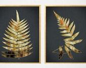 Gold Black Botanical Prints, Black Botanical, Fern Prints, Fern Wall Art, Black Gold Botanical Art, Fern Wall Art, Gold Black Art