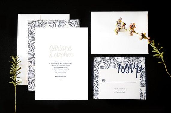 Navy Blue And White Wedding Invitations: Navy Blue And White Wedding Invitation Suite By