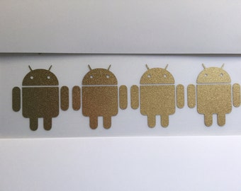 Android Robot Set of Four 1.25 Inch Tall Vinyl Decals in 22k GOLD