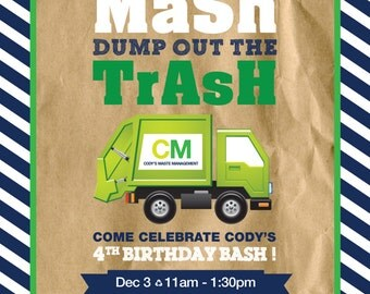 Garbage Truck Birthday Party Invitation / 5x7 / Personalized / Printable Digital File / Trash / Recycle