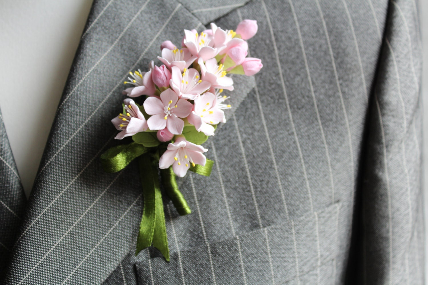 Weddings. Buttonhole Boutonniere For Men. Polymer Clay