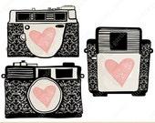 DAMASK CAMERAS - RETRO, Digital Embellishments Clip Art Illustration   vintage pattern heart hand drawn