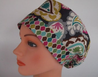 Paisley & Jewel Rave or Mini Rave - Surgical scrub cap, Bakers hat, Chemo hat, 45/47+-8010 OW