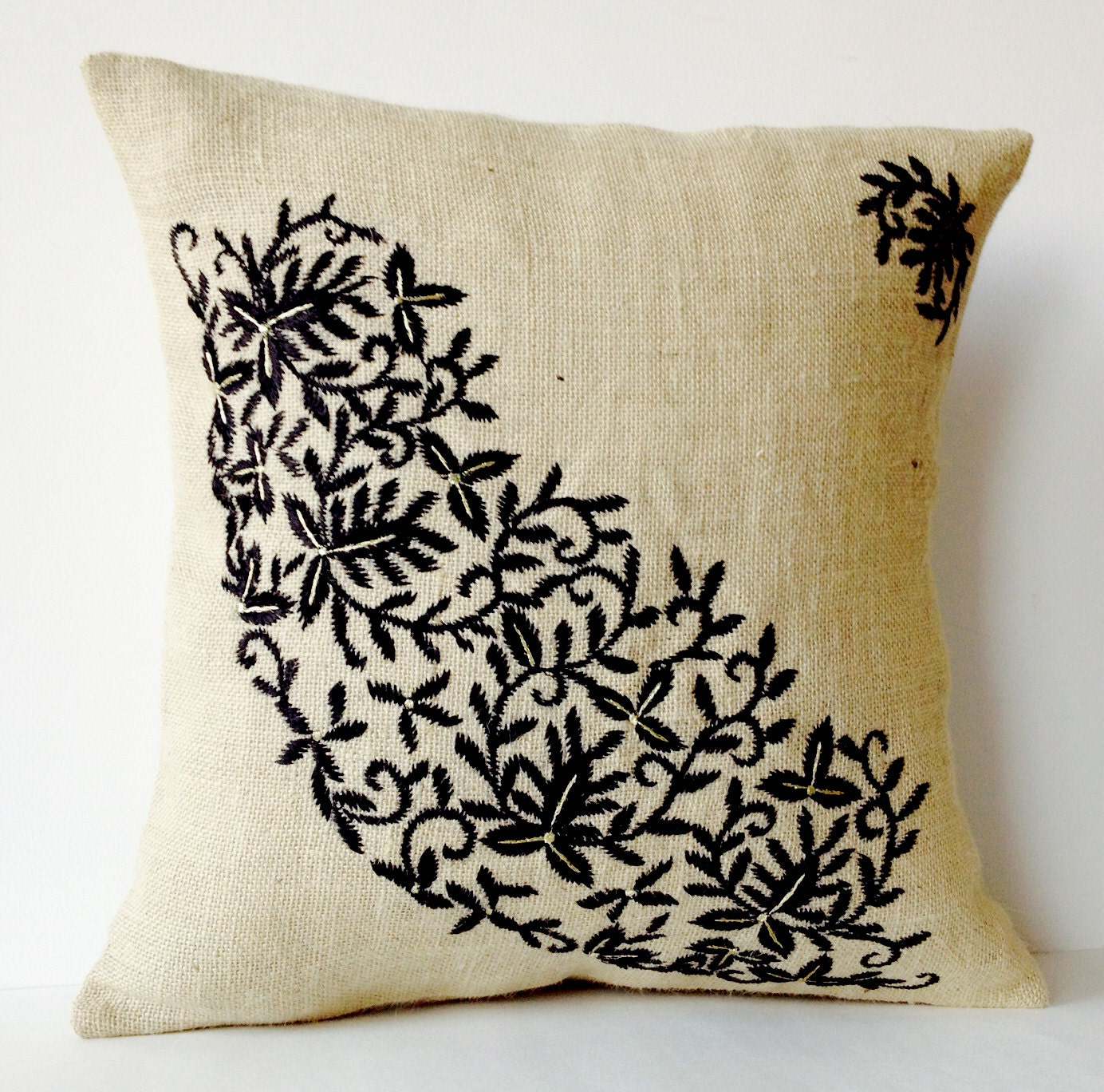 Ivory Burlap Throw Pillows Embroidered Pillow by AmoreBeaute