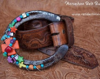 Horseshoe Belt Buckle- Day of the Dead Beads