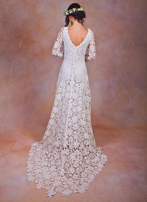 Rustic Boho Wedding Dress Simple Crochet By Dreamersandlovers