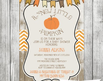 Pumpkin Baby Shower -  Fall Baby Shower Party - Fall Baby Shower Invitation - 5x7 JPG