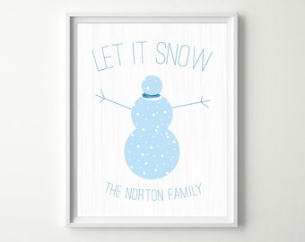 Blue Snowman Holiday Decor - Let it Snow Wall Art Print with Snowflakes & Snowman - Family Name Christmas Decor - Personalized