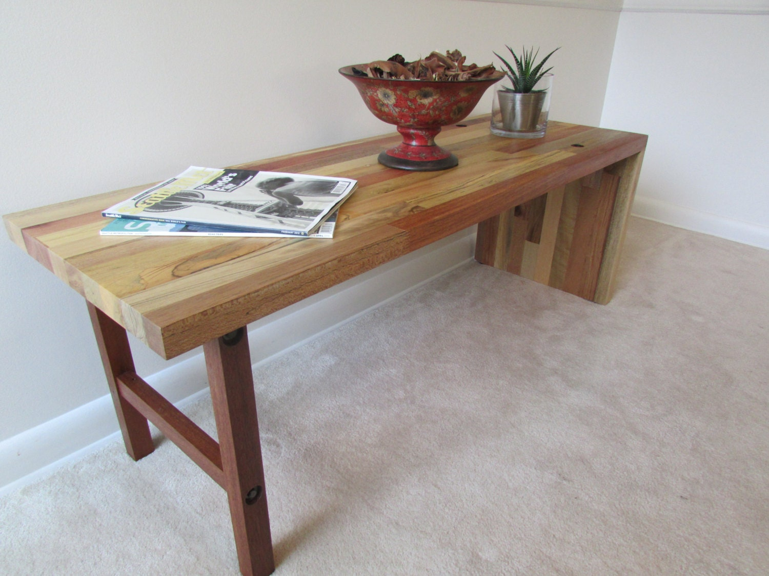 Reclaimed Wood Bench Or Narrow Coffee Table By