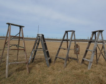 """Antique Wood Ladder with 4 Steps - 46"""" tall - Choose a Vintage Surface or Pick a Color"""