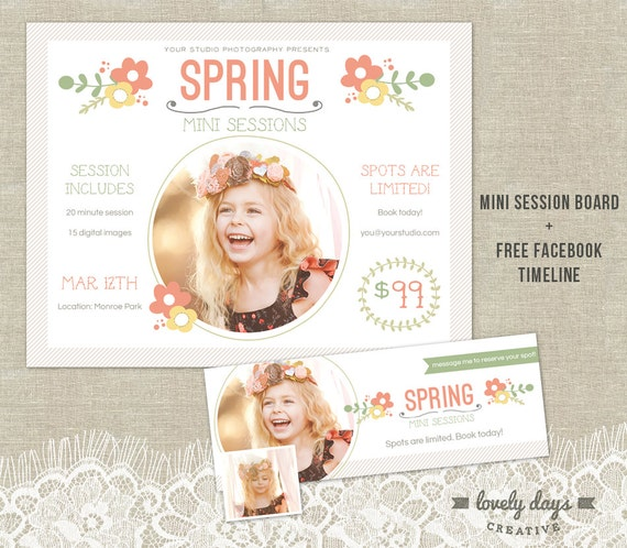 Spring mini session template marketing board by lovelydayscreative for Free mini session templates