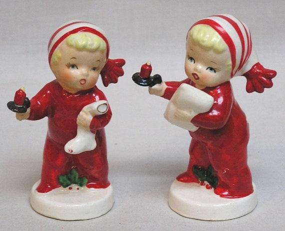 Napco Pair Of Christmas Holiday Pajama Kids Salt Amp Pepper