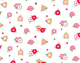 Half Yard of Pam Kitty Morning- 'Tiny Floral' White by Lakehouse Dry Goods, Pam Kitty Coordinates, Quilting Fabric