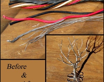 Primitive Tree made from recycled / upcycled aluminum wire - A twisted wire tree sculpture.