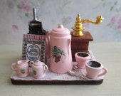 Dollhouse Miniature - Pink Coffee For 2 w/ Cherry Design on Board in the Making with Grinder, Sack of Beans, etc., for Kitchen