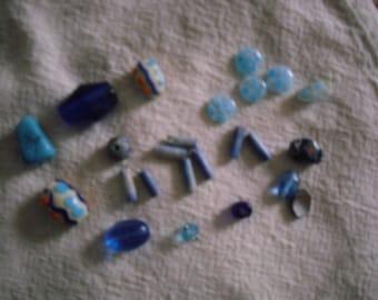 Vintage Blue Bead Destash Mix - 24 pieces
