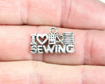 Antique Silver I Love Sewing Charms 10 QTY