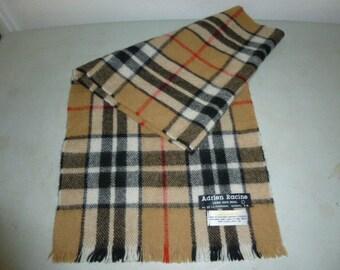 Mens Vintage Lambswool Plaid Winter Scarf Muffler Made in Scotland