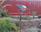 Blue Bird kinetic garden stake weathervane style welded art