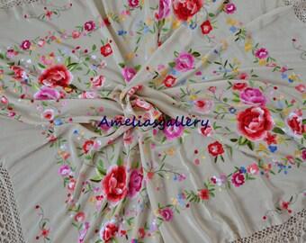 Hand embroidered spanish silk bridal flamenco piano shawl, mantones,wedding evening wrap