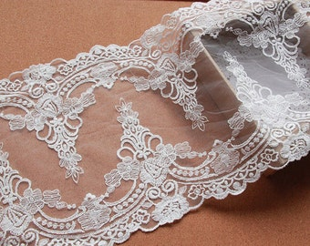 sale ivory  lace fabric trim, graceful lace trim in veil, floral lace trim, antique lace trim, fabric by yard