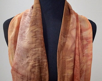 Hand painted silk scarf in copper, browns