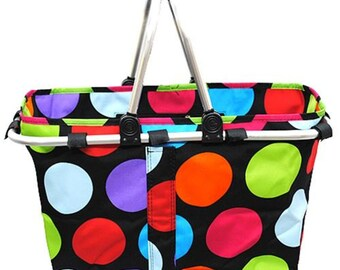 Monogram Personalized Polka Dot Large Market Tote Utility | Toy | Picnic | Diaper Caddy | Nursery | Trunk Organizer Collapsible Basket