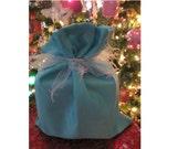 Shiny Blue with Sparkles Reusable Gift Wrap Christmas Fabric Bag