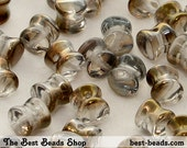 50pcs Clear with Half Gold-Brown Coating Pellet Pressed Beads 6x4mm