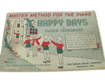 Vintage Piano Music Book, 1940's Piano Instruction Book, Sheet Music, Piano Playing Book, Learning Piano, Lessons, Beginning Piano