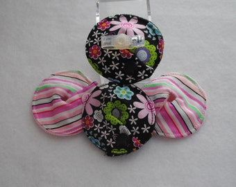 Black Floral G-Tube Pads -- 4 pack | G-Tube Covers | Button Covers | Feeding Tube Pads | GJ Pads | Mic-key Button | Mini Button | Peg