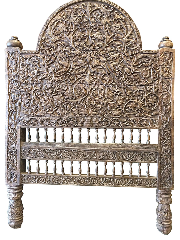 antique indian headboard wood bed frame jaipur beautiful floral carved home decor idea haute juice. Black Bedroom Furniture Sets. Home Design Ideas
