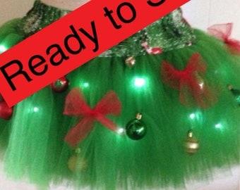 To ship adult supreme fluffy girl christmas tree tutu with lights