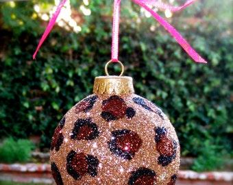 Cheetah print glitter christmas ornament