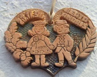 Soviet Vintage Handmade Ceramic Pendant with Sweathearts Made in Latvia in 1991.