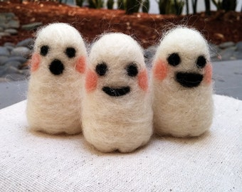 Set of Three (3) Small Needle Felted Ghosts